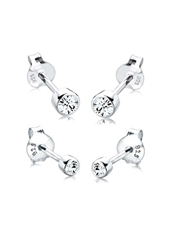 Elli 2er Set Basic Stecker Swarovski Kristallen in 925 Sterling Silber