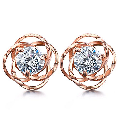 Lydreewam Ohrstecker Rosegold Set Rose Liebe Basic 925 Sterling mit 3A 6mm Zirkonia