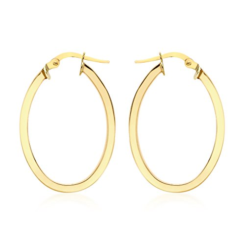 Carissima 9ct Yellow Oval Creole Earrings
