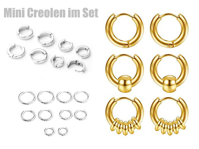 Mini Creolen als Set